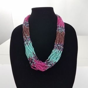 Jewelry - Beaded Faux Turquoise Pink Brown Multi Strand Big